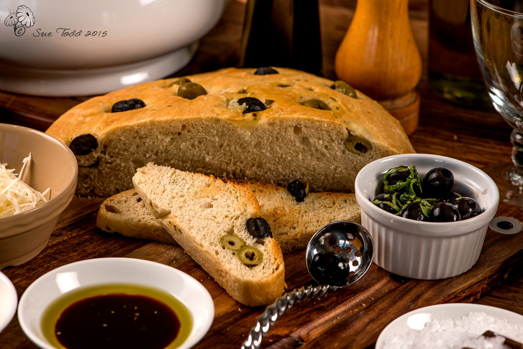 Basil and Olive Focaccia, ready to eat.  © Sue Todd 2015.