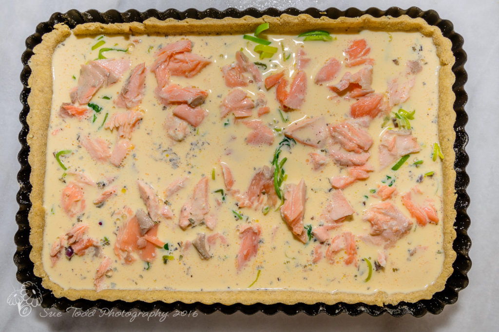 Salmon and watercress tart ready for the oven © Sue Todd Photography 2016
