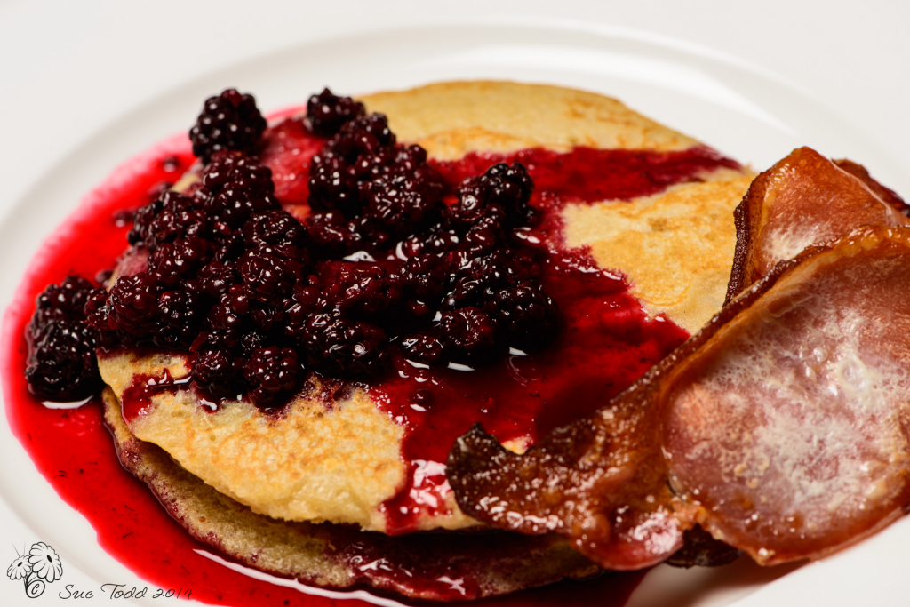 Blackberry Compote, pancakes and crispy bacon.