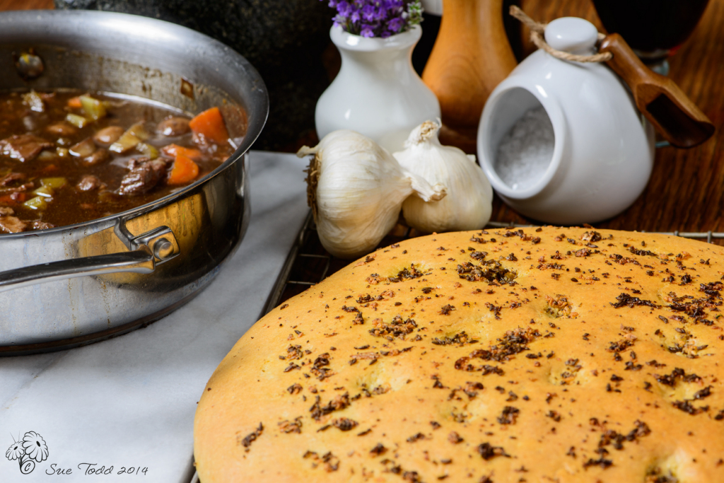 Lavender Focaccia served with shin of beef © Sue