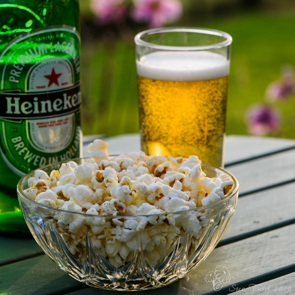 Homemade popcorn and beer © Sue Todd 2014