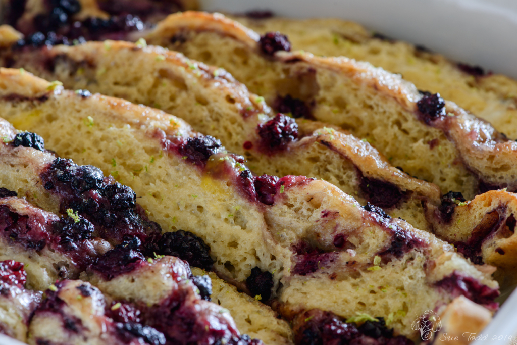 Blackberry Focaccia Bread and Butter Pudding © Sue Todd 2014