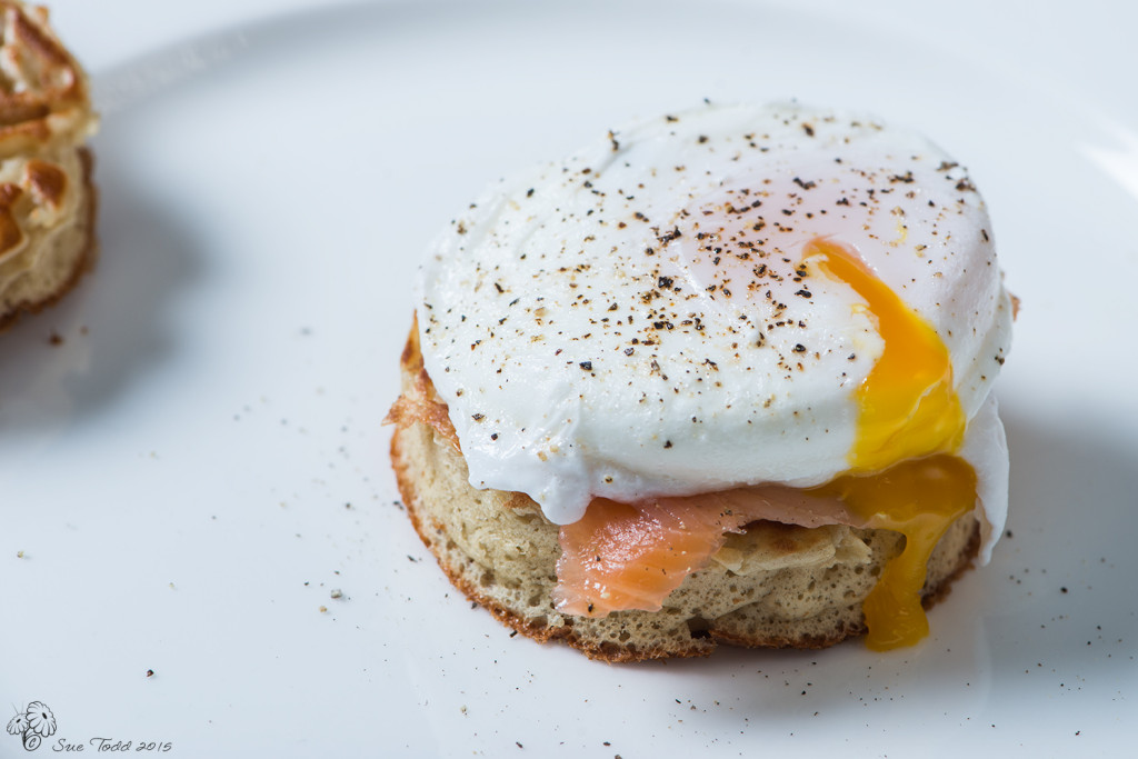 Home-made crumpets with smoked salmon and poached egg.© Sue Todd 2015.