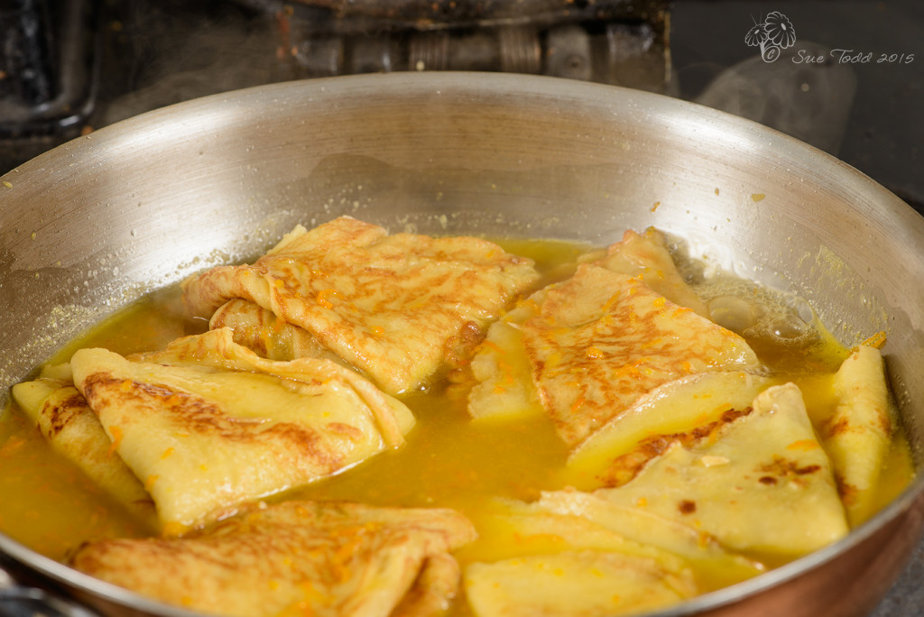Crêpes Suzette ready to serve © Sue Todd 2015
