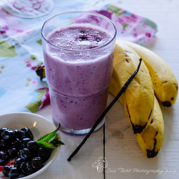 Blueberry and Banana Smoothie home made with fresh ingredients, perfect for breakfast. © Sue Todd Photography 2016